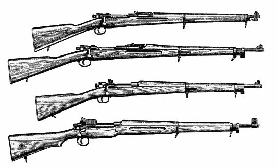 Od góry: M1903 w wersji na nabój 30-03, M1903 w wersji na nabój 30-06, M1903A1, M1903A3