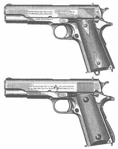 U góry Colt M1911, na dole Colt M1911A1