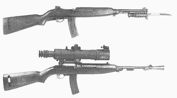 Od góry: karabinek automatyczny M2 Carbine z bagnetem M4 oraz M3 Carbine z celownikiem M2 Sniperscope