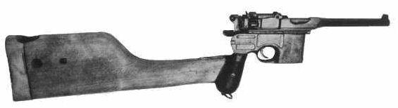 Mauser C96 z kaburą pełniącą rolę kolby dostawnej