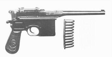 """Mauser C96 """"wielka czerwona dziewiątka"""" z łodką na 10 naboi"""