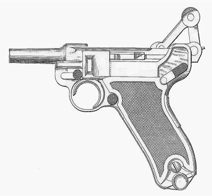 Pistole Ordonanz 1900 z zamkiem w tylnym położeniu